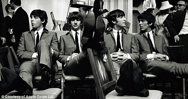The Beatles during rehearsals for The Ed Sullivan Show, 1964