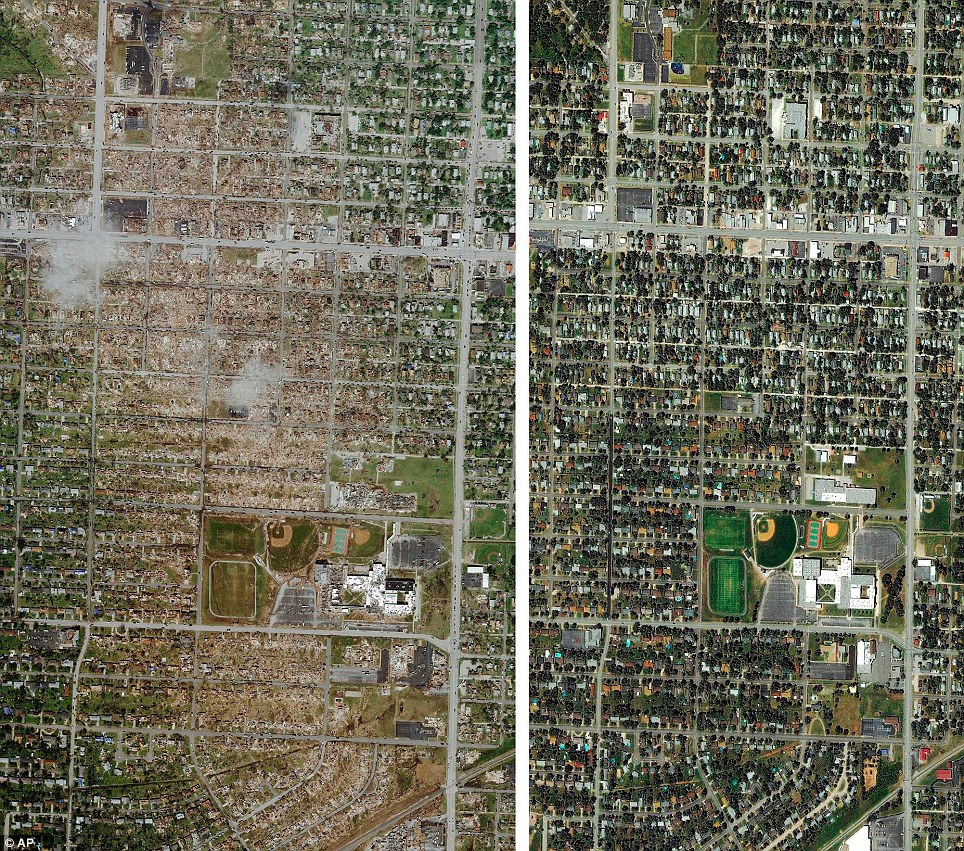 Devastation: The satellite image on the left shows where the tornado ripped through Joplin and left the six-block scar across the city - and on the right was the Missouri city as it was before the tragedy