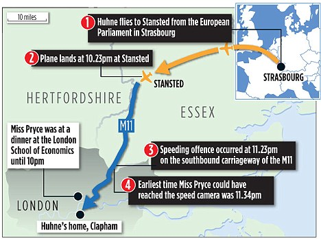 Graphic shows the route Huhne is believed to have taken