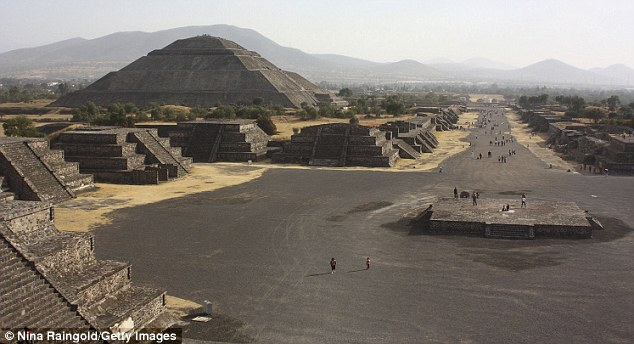 Ancient civilisation: The Pyramid of the Sun (L) and the Avenue of the Dead in Teotihuacan