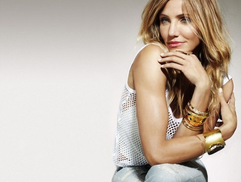 Casual chic: Cameron Diaz is just as glamorous in casual jeans and a white vest than she does on the red carpet or in her sexy swimsuit