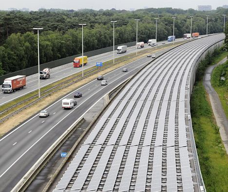 Green energy: The 16,000 solar panels line the tunnel in Antwerp, Belgium