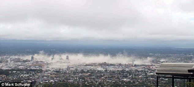 Dust cloud: Moments after the February earthquake as buildings toppled