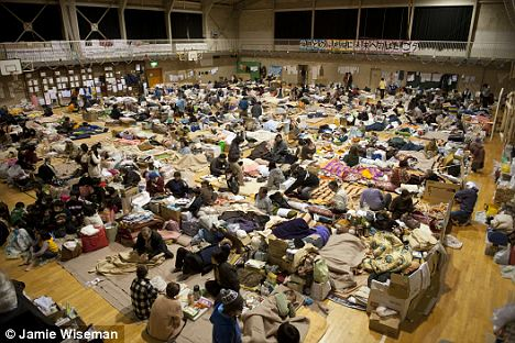 Uncomfortable: Tatekoshi Elementary School in Natori, Sendai, Japan - one of hundreds of shelters where people who lost homes in the tsunami are living