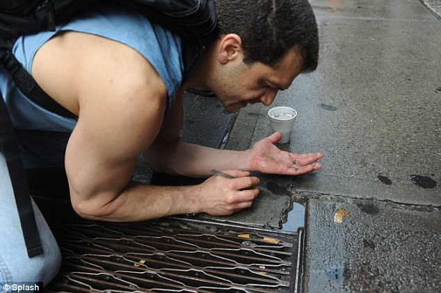 Striking gold: Armed with tweezers, a butter knife and a styrofoam cup, Mr Stepanian earned more than $800 in a week searching Manhattan's streets