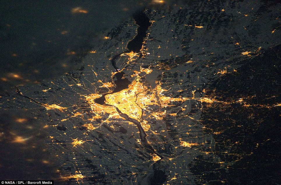 Ablaze: This shot of Montreal in Quebec, Canada, shows how the city centre resembles a pool of molten lava
