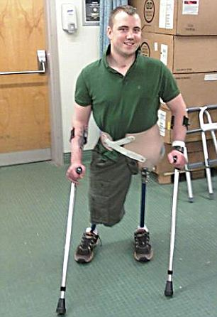 Struggle: In March 2007, Mr Hackemer nearly lost his life after both legs were blown when his vehicle hit an IED
