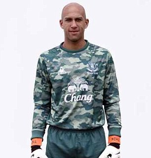 cc8a1e03c There has never been a goalkeeper jersey more worth buying than Everton s  2011-12 army inspired kit. Worn by American  keeper Tim Howard