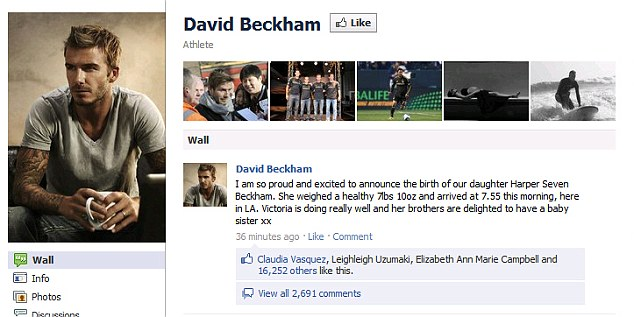 Proud: David announced the baby's name on his Facebook page