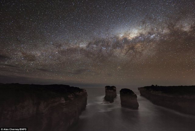 Magnificent: Alex Cherney's photographs show planets, shooting stars, and even the Milky Way - features that are rarely seen from the polluted skies of the Northern hemisphere