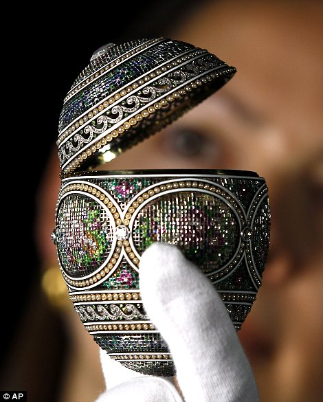 A mosaic Faberge egg is displayed at Buckingham Palace in London