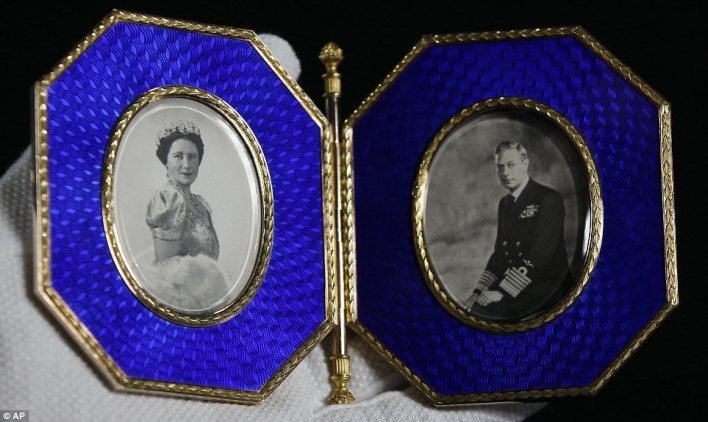 Keepsake: A Fabergé double photograph frame containing portraits of King George VI and Queen Elizabeth taken in 1946