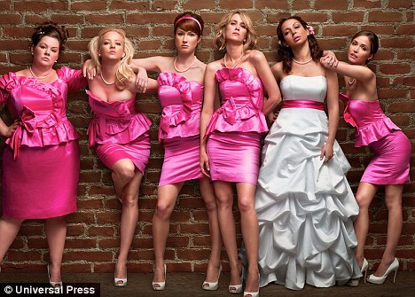 Star turn: The actress (far left) puts in a show-stealing performance in comedy film Bridesmaids