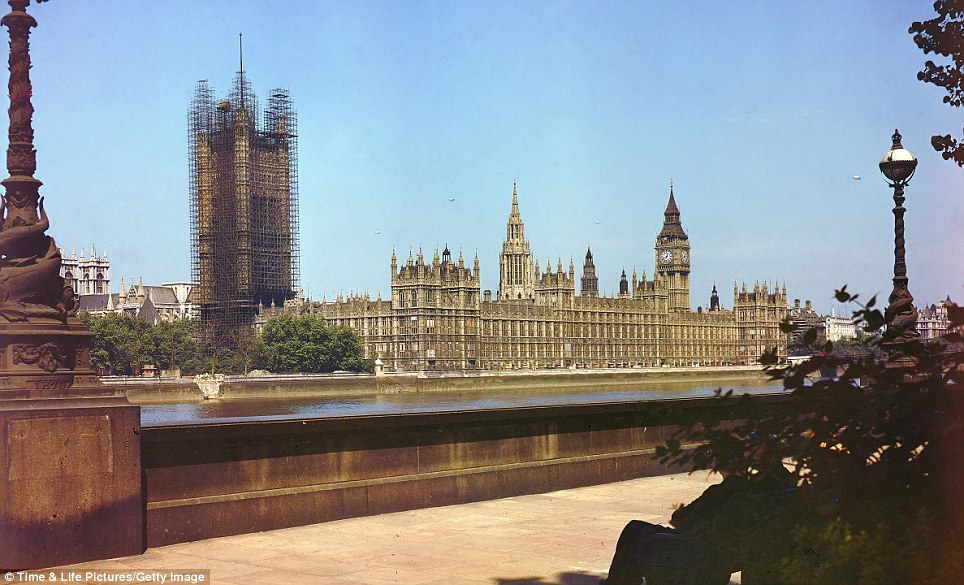 Landmarks: The view across the River Thames of the House of Parliament in scaffolding in 1941