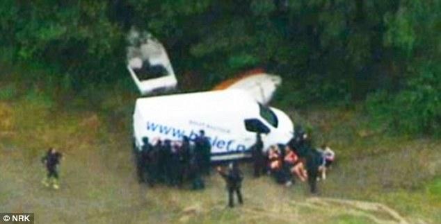 Escena del crimen: El jugador de 32 años de edad, Noruega utilizó esta camioneta blanca para conducir a la isla de Utoya