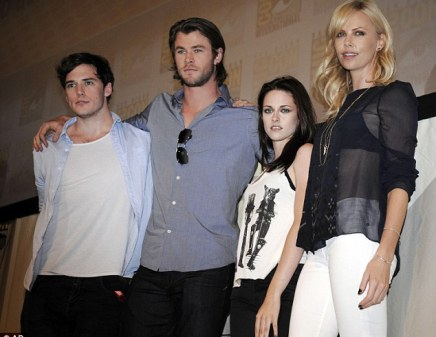 Comic-Con début: The cast of Snow White and the Huntsman including Sam Claflin, Chris Hemsworth, Kristen Stewart and Charlize Theron posed for photos