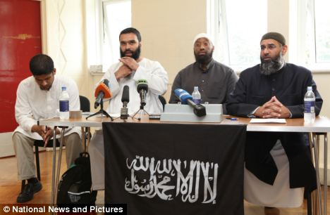 Campaign: Muslims Against Crusaders press conference in Walthamstow. Abu Rumaysah, Sayful Islam, Abu Izzadeen and Anjem Choudary all want Sharia law in Britain