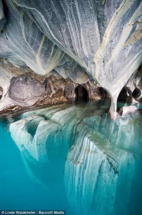 Marble Cathedral on Lake Carrera in Patagonia