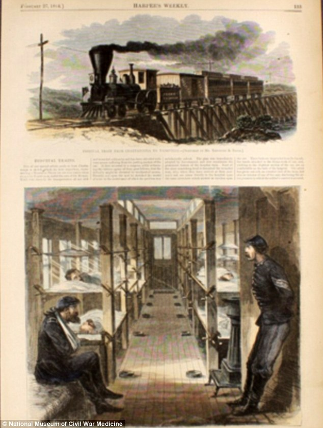 These illustrations are titled 'Hospital Train from Chattanooga to Nashville' and 'The Interior of a Hospital Car' from Harper's Weekly, February 27, 1864. Many wounded soldiers were transported by trains