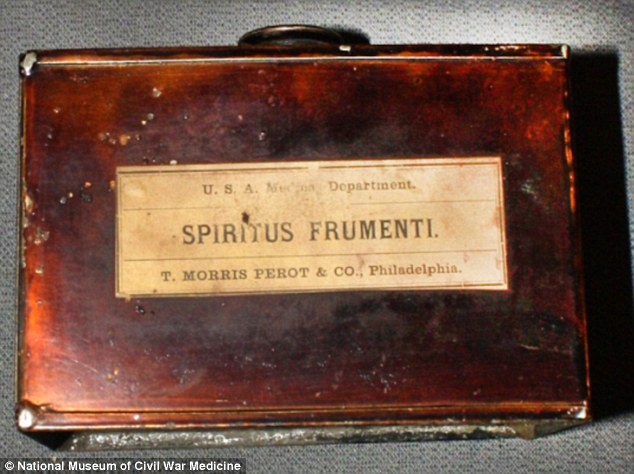 'Spiritus Frumenti' was medicinal alcohol. This tin was part of a hospital knapsack made by the U.S. Medical Dept. which was carried onto the battlefield