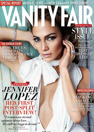 Smouldering: Newly single Jennifer Lopez on the cover of Vanity Fair magazine