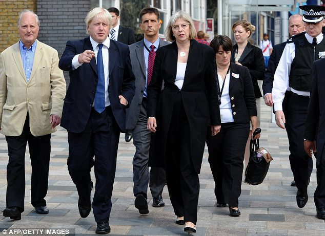 Mayor of London Boris Johnson and Home Secretary Theresa May in Clapham on Tuesday
