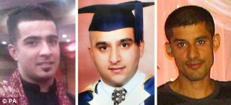 Freinds: From left, Haroon Jahan, Shazad Ali and Abdul Musavir who died they were mowed down by a car while protecting their community from looters
