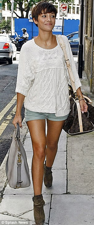 Leggy ladies: Mollie King and Frankie Sandford arrived with the rest of The Saturdays today wearing tiny hotpants to work on their new album in London
