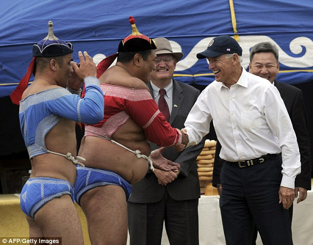 U.S. Vice President Joe Biden's comedic gesture to Mongolian wrestler on  visit | Daily Mail Online