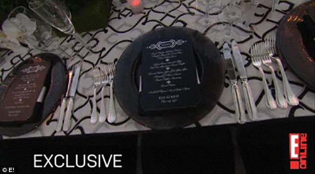 Kim Kardashian Wedding Menu