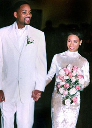 The bride (and groom) wore white: The couple both dressed in Badgley Mischka for their 1997 nuptials. Jada was two months pregnant with Jaden at the time