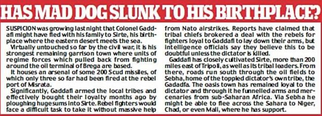 Suspicion was growing last night that Gaddafi had fled to Sirte