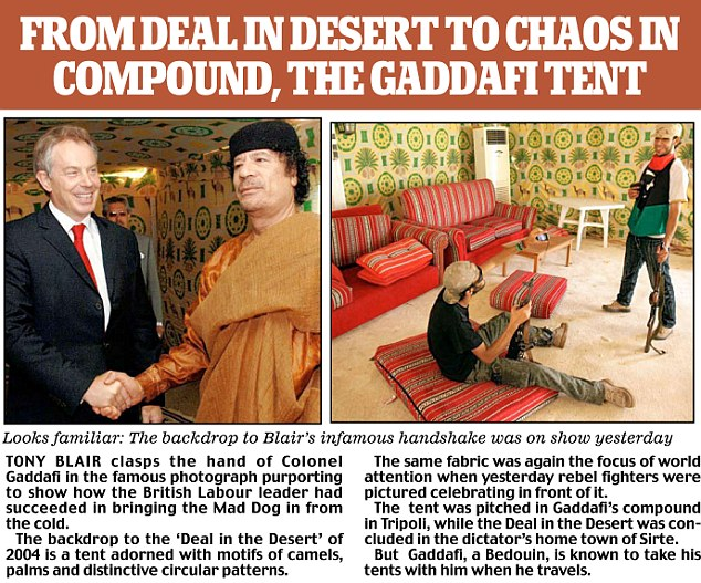 The tent where Blair met Gaddafi met Blair was on show yesterday