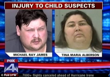 Arrested: The boy's father and step-mother Michael Ray James and Tina Maria Alberson have been charged with injury to a child