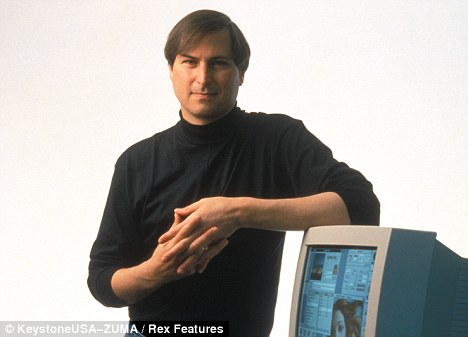 Turn back time: A young Steve Jobs in 1994 with one of the first apple computers. he resigned from the company last week