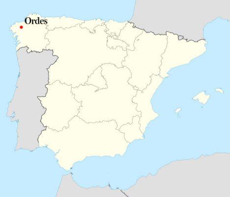 Hogar del peregrino: Ubicación de Ordes en España