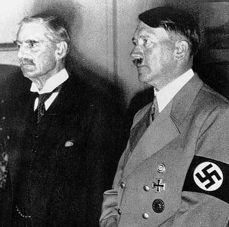 Secrets: Recently released documents show Neville Chamberlain (left) tried to reach a deal with Adolf Hitler (right) over how the Nazis could look more sympathetic to Britons