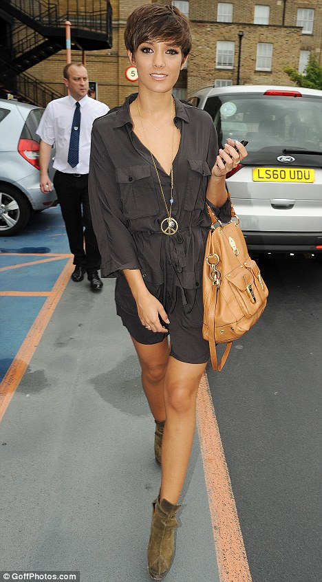 Stylish: Frankie Sandford looked stunning in a silk jumpsuit as she arrived at a television studios in London today