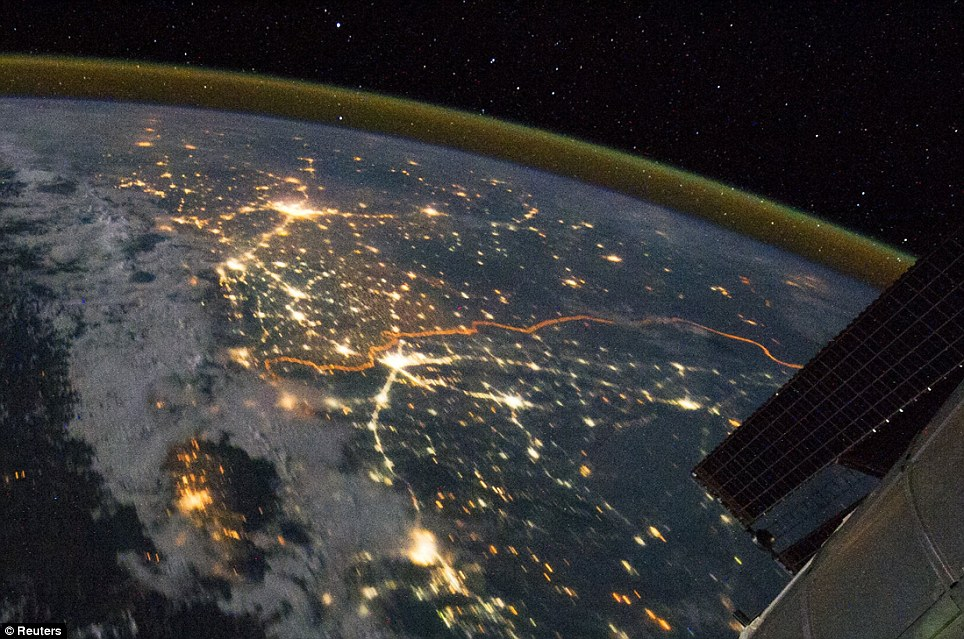 Spectacular: The International Space Station image captures the floodlit border between India and Pakistan in amazing detail