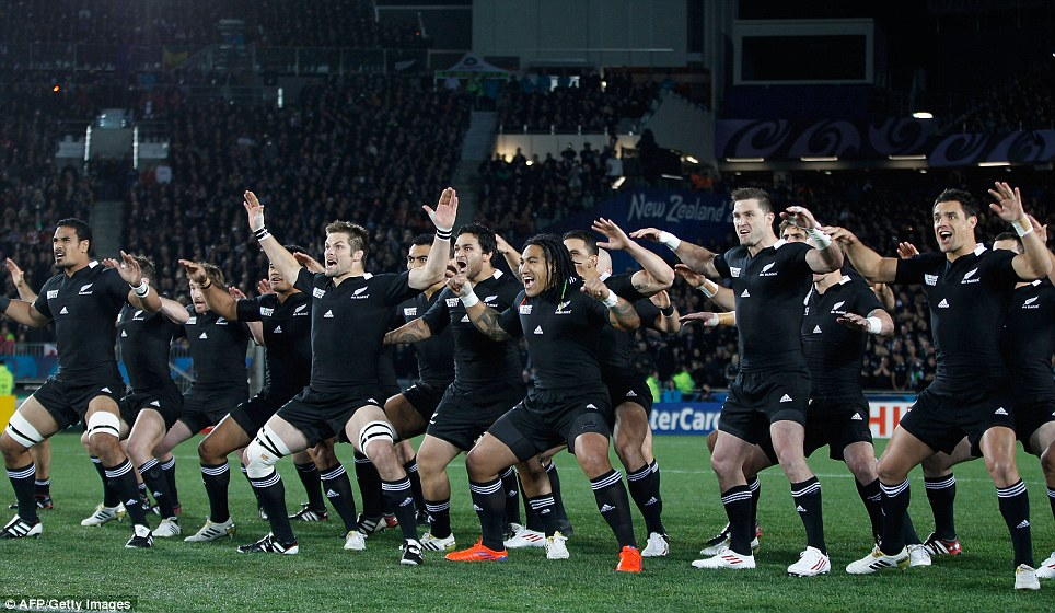 Challenge: All Blacks perform the Haka after Tonga had laid down the gauntlet