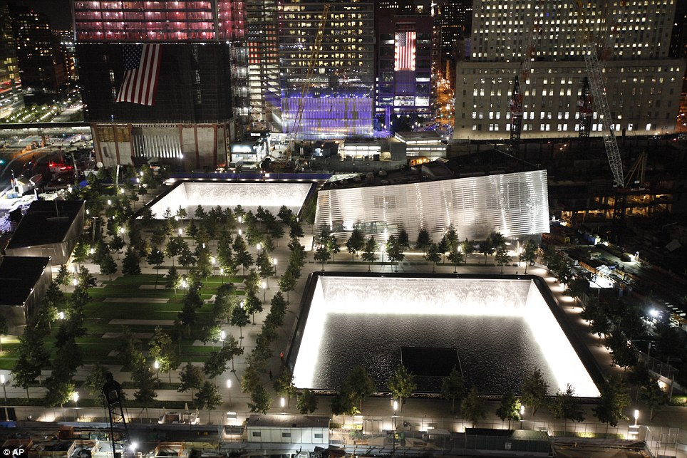 All ready: Water flows in the fountains of the National September 11 Memorial in New York on Saturday, ahead of the 10th anniversary of 9/11