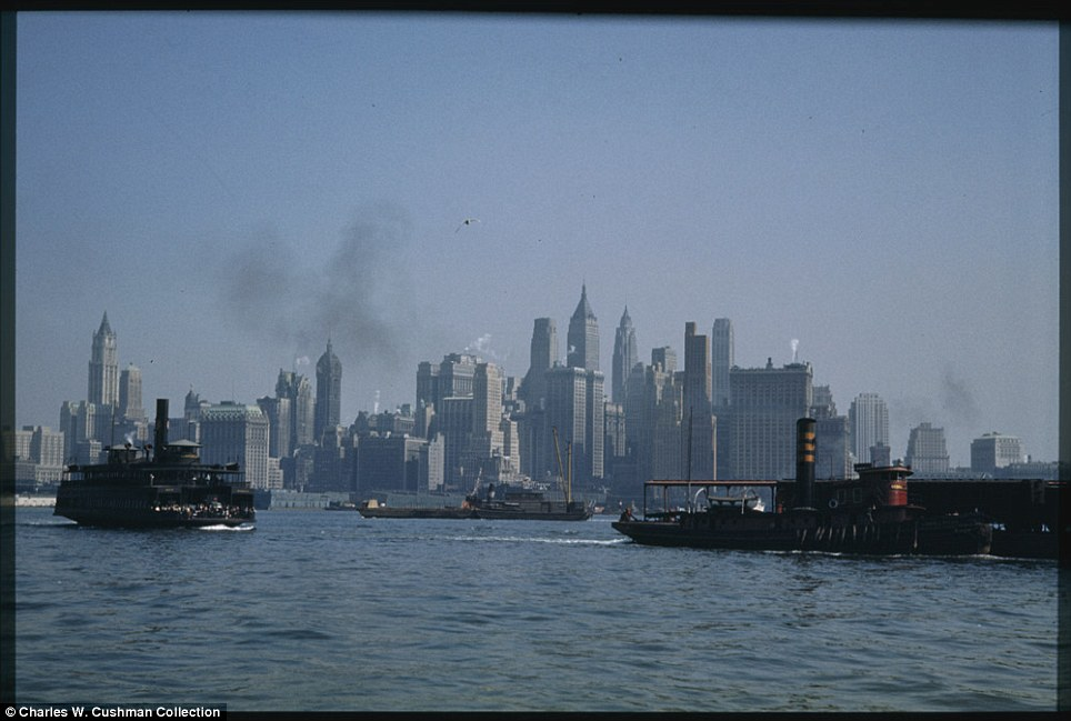 Long shot: Lower Manhattan is pictured from a Jersey City ferry boat on September 27, 1941