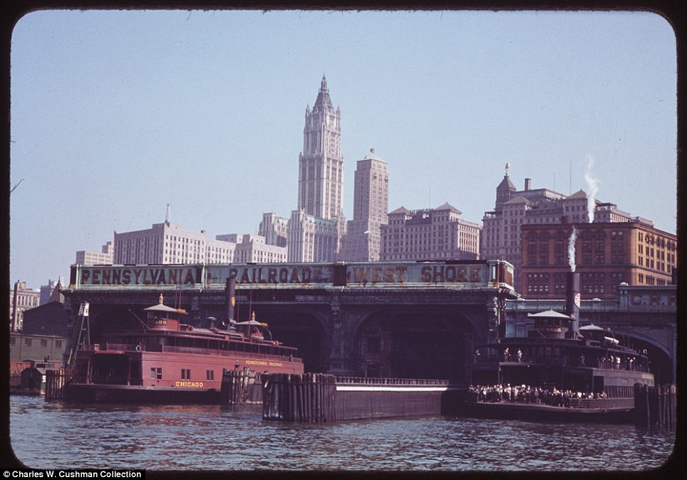 Land and water: The Liberty Street ferry in New York City on September 27, 1941