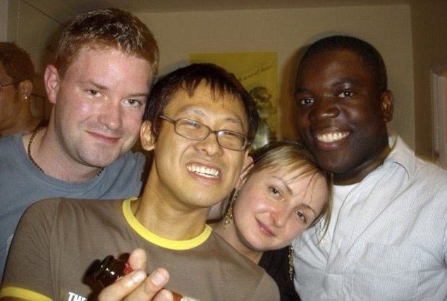 Party boy: Adoboli, right, smiles with friends in a picture of a night out posted in an album on Facebook