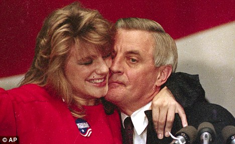 My girl: Walter Mondale gets a hug from daughter Eleanor after conceding the presidential race to Ronald Reagan in 1984