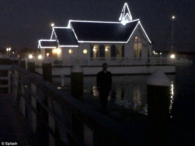 Charming: The Floating Chapel lights up the dock in Sarasota, Florida