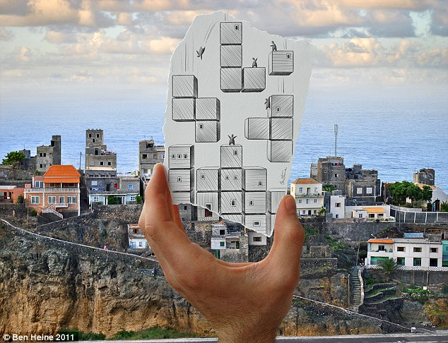 Leap of faith: Tiny men are seen jumping from block to block in this sketch. The drawing makes the apartment blocks on the horizon look like the computer game Tetris