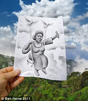 Up in the air: A female singer clutching a microphone sits in a swing in the clouds, held aloft by two doves over a mountainous landscape