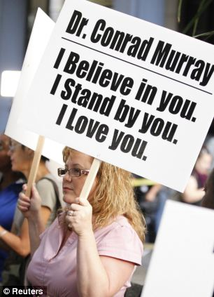 Outside court: People both for and against Dr Murray gathered by the courthouse in Los Angeles