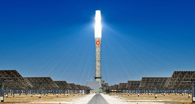 This blinding light is the world's first 24-hour solar plant in action - during the day it 'stores' heat in tanks of molten salt, which then drives steam turbines through the night